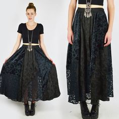 vtg 90s grunge goth gypsy BURNOUT VELVET sheer LACE full maxi dress skirt M/L $78.00