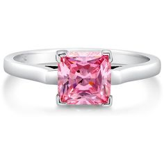 BERRICLE Sterling Silver Princess Pink CZ Solitaire Engagement Wedding... ($42) ❤ liked on Polyvore