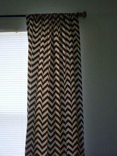 Pair of 50 x 84 inch Designer Custom Drapes Curtains Brown and Natural Chevron Zig Zag. $115.00, via Etsy.