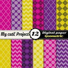 Digital Paper Red purple yellow GEOMETRIC  by Mycuteproject