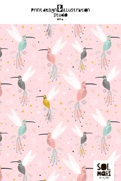 pattern design colibri fairy hummingbirds by solmariart Names Of Artists, Wrens, Small Birds, Robins, Hummingbirds, Scandinavian Style, Pattern Wallpaper, Art Images, Murals