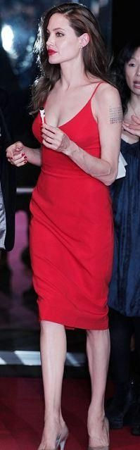 Who made Angelina Jolie's red slip dress that she wore in Japan? Dress – Atelier Versace