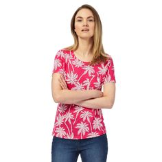 Pink Palm Tree tee, Collection at Debenhams, £10, cotton, up to sz 26