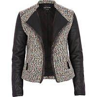 Black boucle PU sleeve jacket