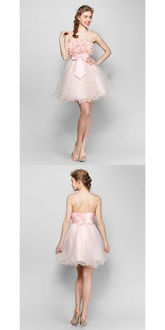 Short/Mini Tulle / Stretch Satin Bridesmaid Dress - Blushing Pink Ball Gown Strapless  #shortbridesmaiddress Tulle, Satin Bridesmaid Dresses, Stretch Satin, Dresses Uk, Buy Dress, Blush Pink, Ball Gowns, Ballet Skirt, Mini