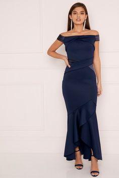 Lipsy Satin Panel Bardot Maxi Dress
