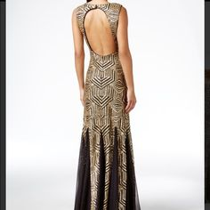 Brand New with tags! Gold sequin Calvin Klein gown Brand New with tags! Gold sequin Calvin Klein gown with black inlays at bottom of skirt. Very Art Deco and Downton Abbey inspired! Beautiful and classy open back. Bought for a work event and ended up wearing a different gown. Calvin Klein Dresses Prom