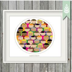 Printable Happy Faces Art Print - 8x10 Art Print - INSTANT DOWNLOAD by greenoriginals on Etsy