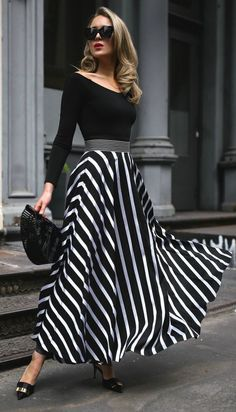 Autumn And Winter Retro Striped Tight-Fitting Dress Maxi Dress - Maxi skirt outfits dress vintage dress aesthetic dress Nyc Fashion, Modern Fashion, Vintage Fashion, Vintage Vogue, Style Fashion, Petite Fashion, Trendy Fashion, Fashion Tips, Striped Maxi Skirts