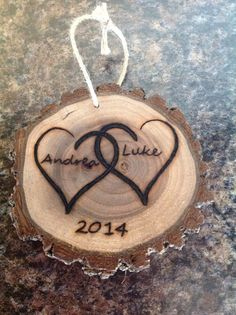 Wood burned Hearts ornament on Etsy, $7.00