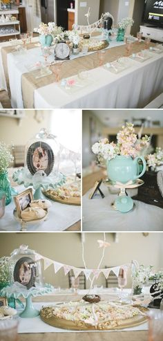 Love this sweet tea party baby shower theme! The table centerpiece is especially cute! | Shabby Chic Baby Shower