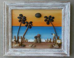 """Pebble Art, Rock Art, Pebble Art Couple, Rock Art Couple, unique pebble art, palm trees, honeymoon, 8.5x11 """"open"""" frame (FREE SHIPPING)"""