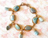 Vintage Mid Century Polished Blue Agate Charm Bracelet - Imitation Turquoise, Dangling Blue Drops, Cha Cha Bracelet,