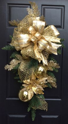 Items similar to Gold Christmas Swag, Wreath, Holiday Swag, Christmas Door Wreath, Large wreath on Etsy Christmas Swags, Christmas Door, Outdoor Christmas, Holiday Wreaths, All Things Christmas, Christmas Holidays, Burlap Christmas, Primitive Christmas, Country Christmas
