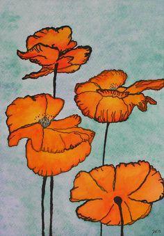 Orange Poppies - Watercolor Painting