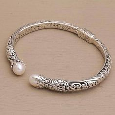 Cultured pearl cuff bracelet, 'Magical Encounter' - Cultured Pearl and Sterling Silver Cuff Bracelet Sterling Silver Cuff Bracelet, Silver Bangle Bracelets, Silver Earrings, Silver Pearl Ring, Jewellery Bracelets, 925 Silver, Dangle Earrings, Jewelry Watches, Unique Silver Rings