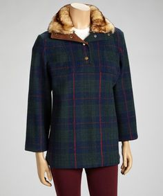 Take a look at this Blue Plaid Faux Fur Jacket - Women by Up Country on #zulily today!