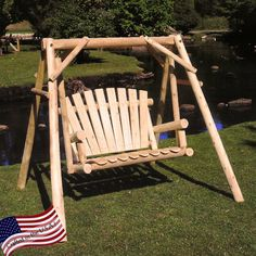 Lakeland Mills White Cedar Log Porch Swing and Stand Set | from hayneedle.com