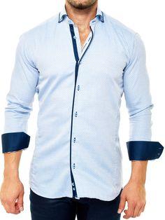 Maceoo shirts - Elegance Mini Square Blue - Men Fashion - 1