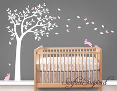 Wall Decal Nursery Wall Decals Tree Decal With Adorable Bunnies and Butterflies by SurfaceInspired on Etsy https://www.etsy.com/au/listing/205496548/wall-decal-nursery-wall-decals-tree