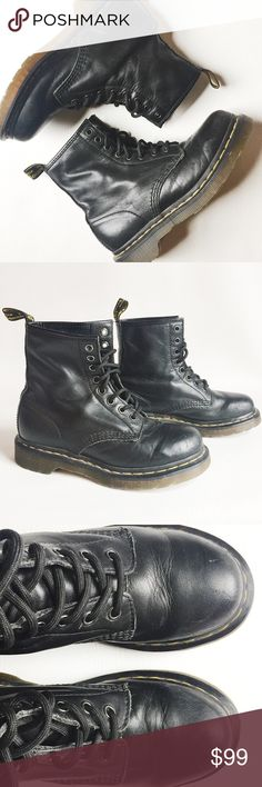 Dr. Martens 1460 8 Eye Boots Dr. Martens 1460 8 Eye Boots in black featuring iconic style.  Pair with boyfriend jeans and a chunky knit sweater!  Pre-loved but in excellent condition.  Minimal signs of wear, see pics.  Original box not included.  UK Size 4, equal to US Women's Size 6. Dr. Martens Shoes