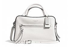The Must-Know It Bags Of Summer #refinery29  I have it in black with white trim...love it!  Coach's new versatile top-handle satchel freshens up any summer ensemble with its subtle pebble-leather detailing and sleek shape.