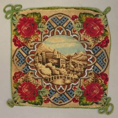 ANTIQUE VICTORIAN BERLIN WOOLWORK EMBROIDERY & BEADWORK CUSHION COVER