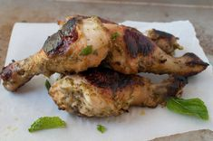Pesto-yogurt roasted chicken drumsticks.  Here's a summer staple, chicken drumsticks! Actually these ones are roasted, so they can be made year round. They're the perfect no-fuss weeknight meal.