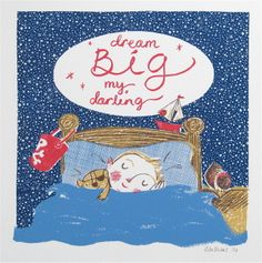 dream BIG Original screen print by LilSonnySky on Etsy Childrens Wall Art, Cards For Friends, E Cards, Cute Illustration, The Little Mermaid, Dream Big, Screen Printing, Etsy Shop, The Originals