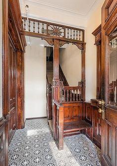Brooklyn brownstone foyer interior Victorian woodwork   by techpro12