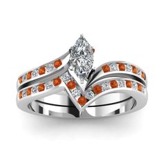 Twisted Edge Marquise Shaped diamond Wedding Ring Sets with Orange Sapphire in 18K White Gold exclusively styled by Fascinating Diamonds
