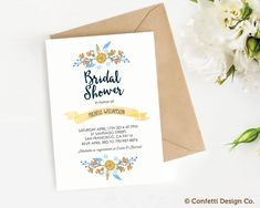 Custom Bridal Shower Invitation - Floral - Yellow and blue - DIY printing