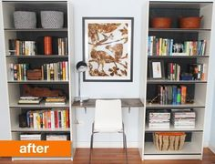 Before & After: Rubina's Sophisticated Mini Library Makeover - little desk and customized Ikea bookshelves - so smart!