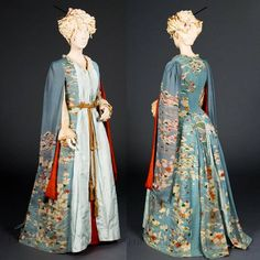 """Kimono dressing gown, ca. 1885 From the FIDM Museum Blog: """"This blue dressing gown began as a Japanese furisode, or """"swinging sleeves"""" kimono, a type worn only by young unmarried women. The white and blue pattern was created using the katazome technique. Katazome is a type of resist dying in which a stencil is used to apply rice paste to the areas of fabric which will remain white. When the rice paste dries, the fabric is dyed."""""""