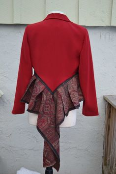 Ruffle refashion jacket.