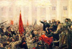 Lenin rallying the Bolsheviks to revolution