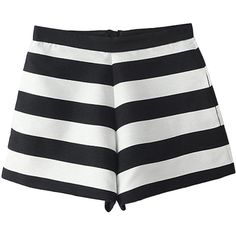 Stripe Print Empire-waist Shorts ($22) ❤ liked on Polyvore featuring shorts, bottoms, short, pants, stripe shorts, striped shorts and short shorts