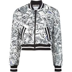 Moschino hat box print bomber jacket (11.698.780 IDR) ❤ liked on Polyvore featuring outerwear, jackets, tops, coats / jackets, black, stand collar jacket, blouson jacket, pattern jacket, patterned bomber jacket and print jacket