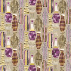'Hayward' was designed in the Sanderson studio and is inspired by the incised textures and patterns used to decorate Poole pottery. Textile Design, Fabric Design, Pattern Design, Mid Century Modern Design, Mid Century Modern Furniture, Sanderson Fabric, Dining Room Curtains, Fabric Wallpaper, Pallets