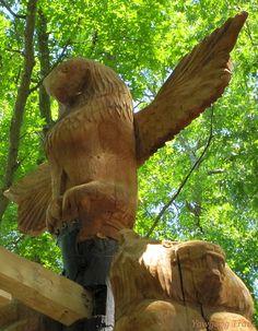 Eagle and bear totems at #Yawgoog's T. Dawson Brown Gateway!  A 2014 image by David R. Brierley.
