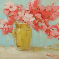 Flower painting. pink flowers in green vase, 6x6 inch impressionistic original oil painting