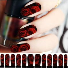 Red Rose Nail Decals Black and Red Designs Holiday Nail Designs, Nail Designs Spring, Cute Nail Designs, Rose Nails, Gel Nails, Manicures, Nail Polish, Acrylic Nails, Nail Art Stickers