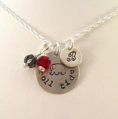 Show your Bama Pride with this handmade sterling silver charm necklace. On the small disk, choose an initial, a year, or up to 3 Greek letters. On