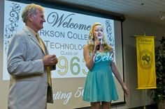 Clarkson student Claire Berrigan welcomes members of the Class of 1963 to campus. http://www.payscale.com/research/US/School=Clarkson_University_-_Potsdam,_NY/Salary