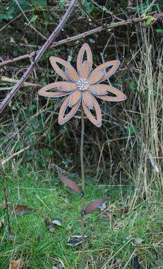 Rusted Flower Garden Art  Garden Stake by metalgardenart