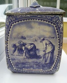 ♥ ~ ♥ Blue and White ♥ ~ ♥ Vintage Delft-style Biscuit Tin With Images From Millet Paintings Blue And White China, Blue China, Love Blue, Delft, Chinoiserie, Millet Paintings, Holland, Antique Dishes, Vases