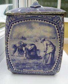 Vintage Delft-style Biscuit Tin - #Delft #Blue #design