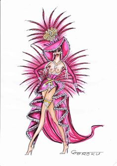 Show Girl Carnival Dress, Carnival Outfits, Carnival Costumes, Showgirl Costume, Samba Costume, Dress Sketches, Fashion Sketches, Rio Festival, Carnival Inspiration