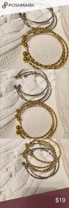 Gold or Silver Bracelets set of 3 Pick A set of Gold or Silvers colors set of 3 or individual. Size 8-10 inches radiusAprox. Brand new. Custom Jewelry Bracelets