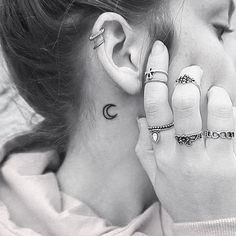 Or a moon, for all those nights when you told it your secrets: | 19 Beautiful Tattoos That Will Look Perfect On Your Ears